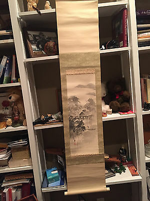 Antique or vintage Japanese Hanging Watercolor Silk brought f/ Japan in 50s
