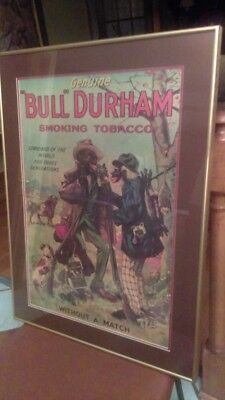 Bull Durham Smoking Tobacco 18 X 26 Adv Poster Sign Black Americana Matted Frame