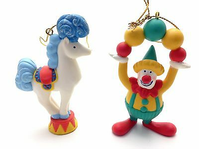 Vintage Avon Christmas Ornaments Three Ring Circus Clown and Horse