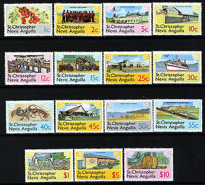 ST.KITTS-NEVIS-ANGUILLA QE II 1978 Pictorial Complete Set SG 392 to SG 406 MNH