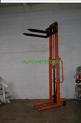 "Fork Over Manual Stacker 2,200 lb 118"" lift height 27 x 45"