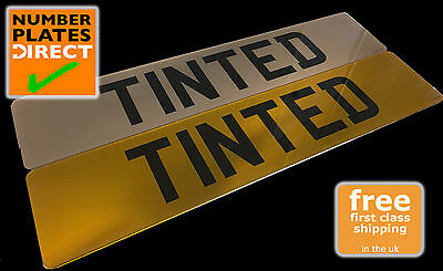 PAIR OF TINTED BROWN TINT Smoked PLASTIC UK  Car Registration Number Plate SHOW