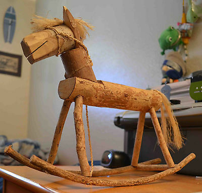 Beautiful Hand Carved Wooden Miniature Rocking Horse