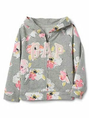 New Baby Gap LOGO Floral Graphic Hoodie Sweatshirt NWT 2T 3T 4T 5T Toddler Girls