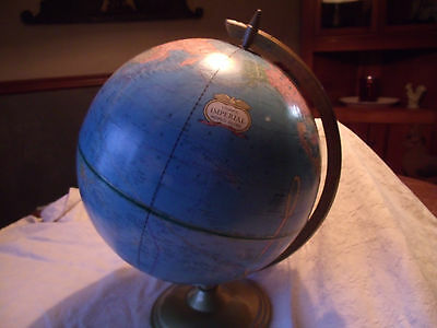 Vintage Cram's Imperial World Globe-12 inch-Metal Stand-Raised Relief