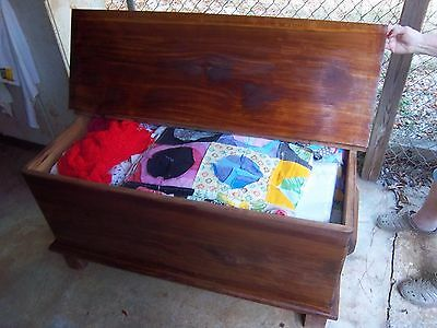 Vintage  MADE ONE BOARDED QUILT or BLANKET CHEST CEDAR WOOD Pre War
