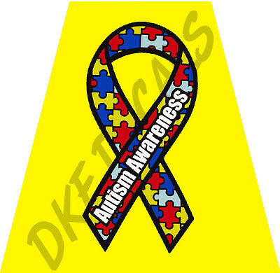 Reflective Helmet Tetrahedron, Yellow with Autism Awareness Puzzle Ribbon Logo