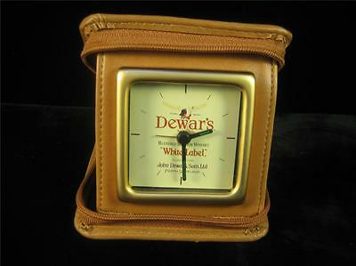 Dewars White Label Travel Clock in a Faux Leather Zip Case Works Plaid Interior