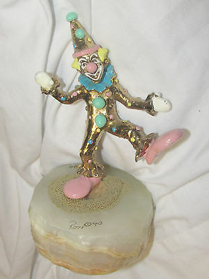 "1990 Ron Lee ""New Pinky Standing"" Clown 923/8500 Onyx Base 24k Gold Sprinkles"