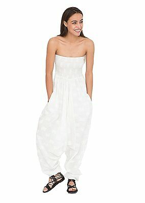 2 in 1 Maxi Harem Pants and Jumpsuit with Lotus Flower Motif