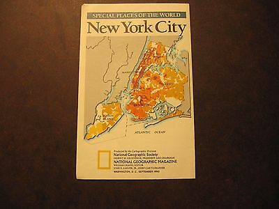Sept. 1990 New York City Special Places of the World National Geographic Map