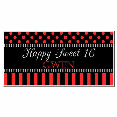 BLACK AND RED Sweet Sixteen 16 Birthday Banner Personalized Party