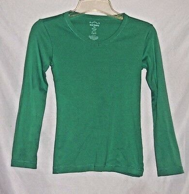 Old Navy Girl's Size L (10-12) Long Sleeve Green T-Shirt, 100% Cotton