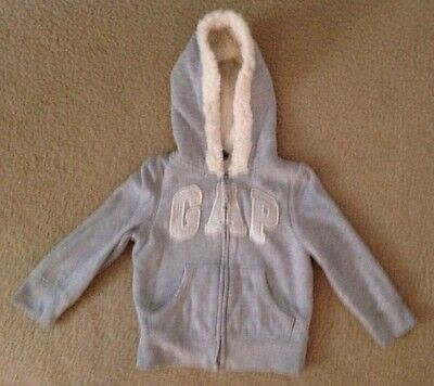 Girl's, Size 2T, Baby Gap, Gray Shearling Lined, Hooded Sweatshirt