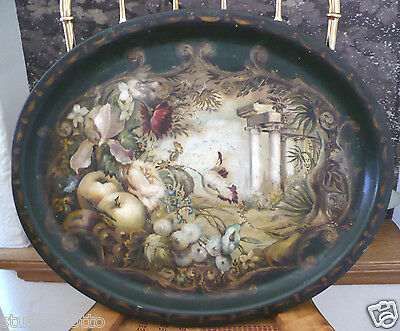 Antique Tole Tray Scenic Garden Ruins Floral Fruit hand painted Toleware LARGE