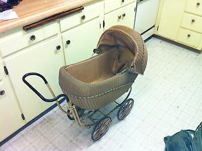 Vintage Antique Baby Carriage Wicker Metal Frame From Mom's Estate Steel @@@@@@@