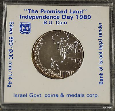 """1989 Israel Sheqalim Proof Silver Coin Independence Day """" Promised Land"""""""