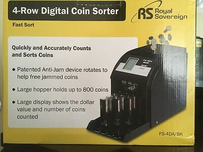 NEW Royal Sovereign Digital 4-Row Electric Coin Sorter Counter Counting Machine