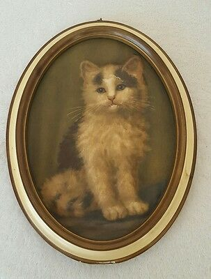 Vtg 1940's Kitten Kitty Cat Cast Paper Sculpture Bas Relief Embossed Art Print