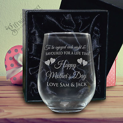 Engraved Mothers Day Stemless 500ml Wine Glass Personalised Gift Box Present Nan