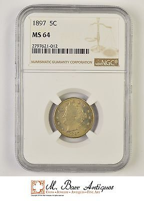 MS64 1897 Liberty V Nickel - Graded NGC *520