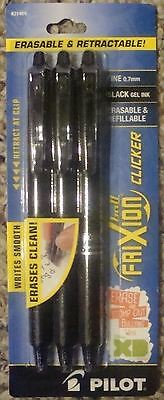 Pilot FriXion CLICKER Ball Erasable Gel Pens 0.7 Point, 3-Pack Black Ink #31464