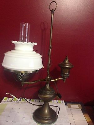 Vintage Antique Brass Oil Style Student Bankers Desk Table Lamp White Shade