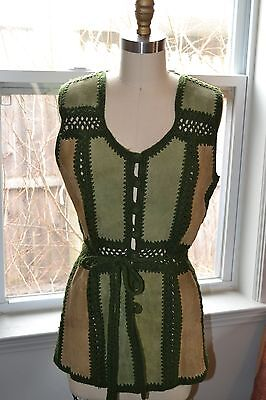 Bloomingdales forest green tan crocheted suede patchwork retro hippie vest 60s