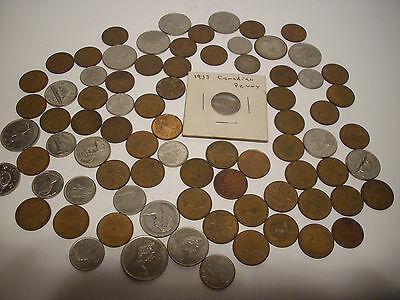 Assortment Of 79 Canadian Coins. Pennies, Nickles, Dimes, And Quarters.