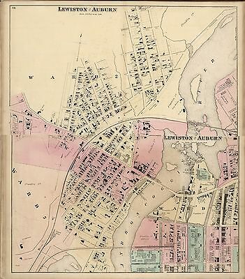 1872 ANDROSCOGGIN COUNTY plat maps MAINE state old GENEALOGY LAND OWNERS DVD P1