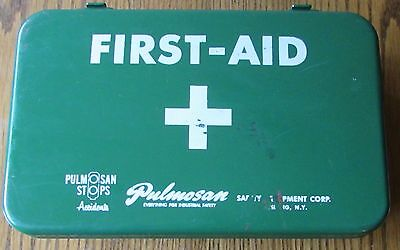 Vintage Pulmosan Safety Equipment Corp Metal First Aid Kit - Full