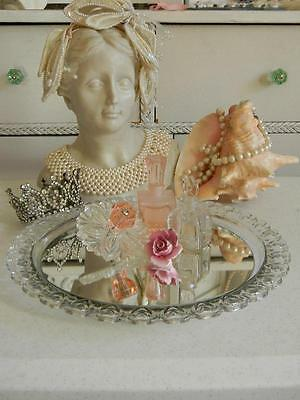 The Best Old Round Mirrored Vanity Tray~Glass Hearts all the way around~Ghosting