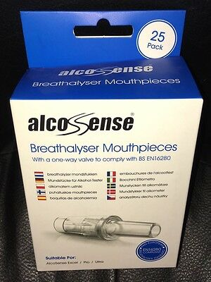 25 x AlcoSense Mouthpieces for Excel ,Pro & Ultra - Mouth pieces Blow Tubes