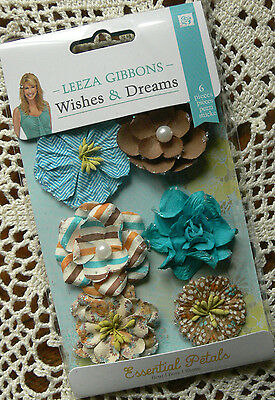 WISHES & DREAMS - Leeza Gibbons -  6 Flower Pack Approx 35-45mm - Paper PRIMA