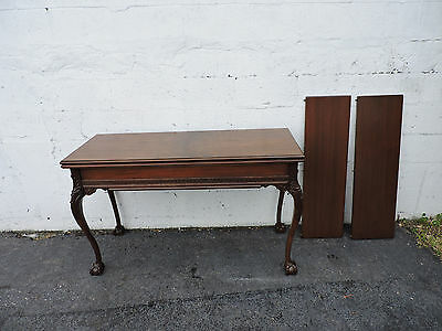 Early 1900's Walnut Dining Card Console Library Table with Two Leaves 7992