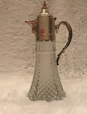 Antique Crystal With Silver Plated Top/Lid Pitcher Wine Decanter