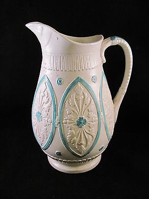 Antique 19thC Early English Molded Stoneware Pitcher Registered Mark 8 in Green