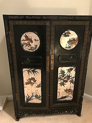 Old Chinese Lacquer Cabinet Black With Carvings