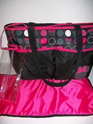 Disney Baby Minnie Mouse Diaper Bag Organizer Changing Pad Travel Tote