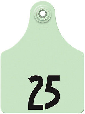 76 - 100* Green Global Numbered Maxi Cattle ID Ear Tags
