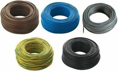 100 mt of electrical cable unipolar section 1x1,5 mm blue rubber flexible