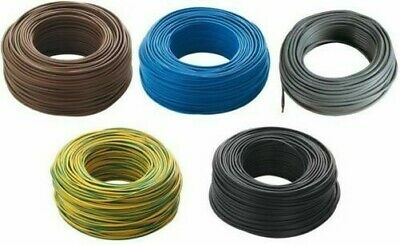 1 mt of cable electric unipolar section 1x1,5 mm rubber flexible yellow green