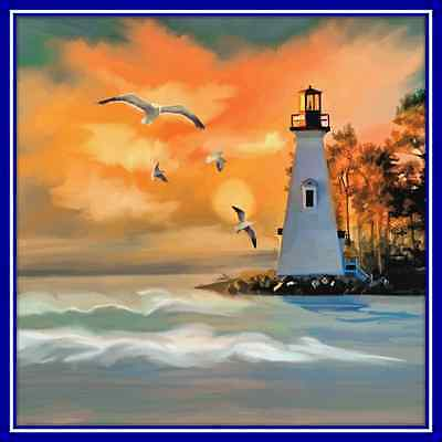 30 Custom Lighthouse at Sunset Personalized Address Labels