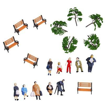 Model Trees Train Park People Figures Bench for HO OO Scales Scenery Layout