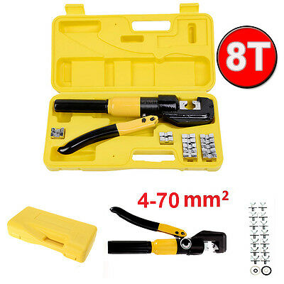 8Ton Hydraulic Wire Battery Cable Lug Terminal Crimper Crimping Tool with 8 Dies