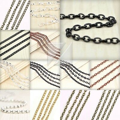 4M Unfinished Chains Ball Twisted Curb Flat Cable Rollo Oval Woven Wholesale