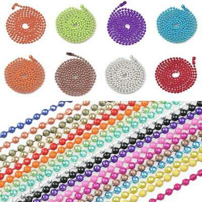 Wholesale 28Inch U Pick Ball Chain Necklace Bead Connector 1.5/2.4mm 18 Colour