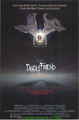 DEADLY FRIEND MOVIE POSTER Original Rolled SS 27x40 WES CRAVEN 1986 Horror Film