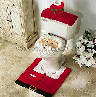 Set Of 3 Santa Toilet Seat Cover Mat Water Tank Slipcover Christmas AU Local