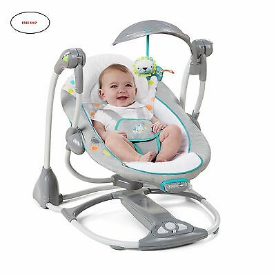 Ingenuity ConvertMe SWING 2 SEAT, 5-Point Harness Foldable BABY SWING, Ridgedale